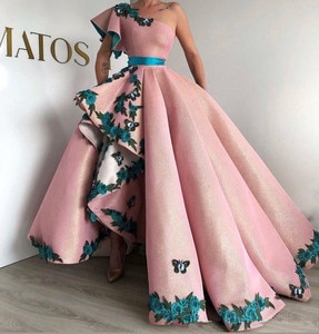 Shinning Ball Gown Pink Evening Gowns Long Party Dress 3D Applique Lace-up Sexy One Shoulder prom Dresses robe de soiree Aben