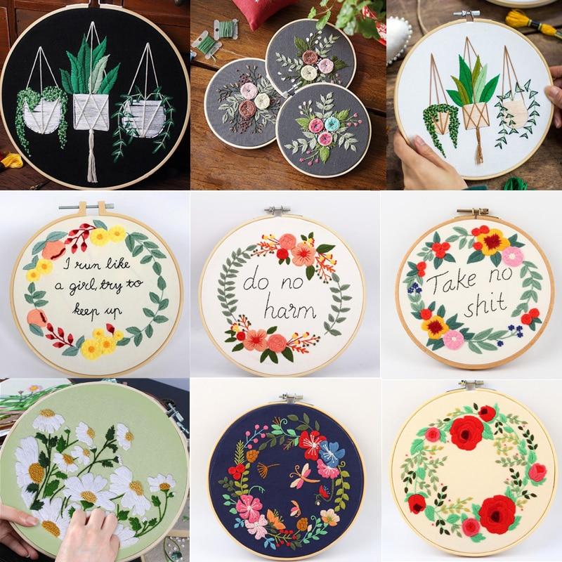 DIY Flowers Plants Pattern Embroidery Set Needlework Tools Printed Beginner Round Cross Stitch Kit Sewing Craft