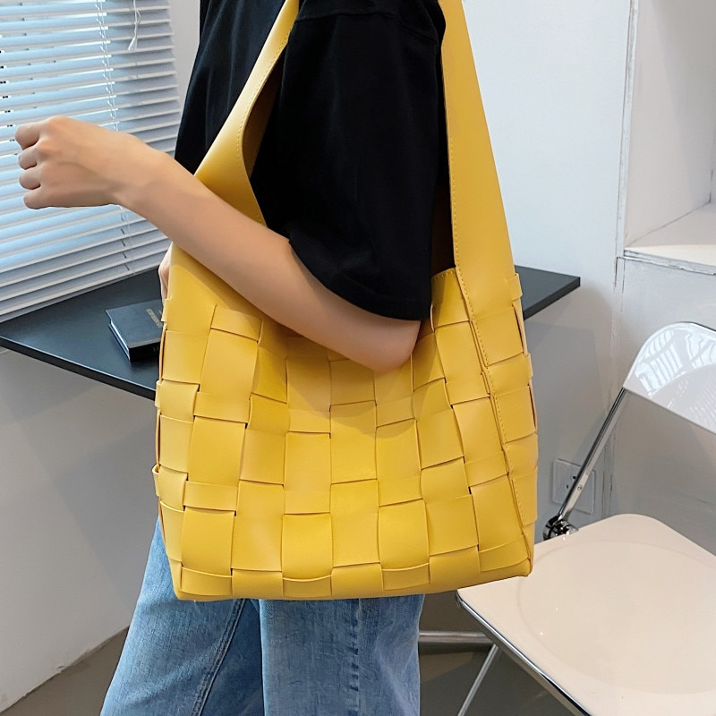 Yellow Weave Tote Bags for Women Luxury Soft Leather Bucket Bag Large Capacity Shoulder Bag Female New Big Woven Shopper Bag Sac