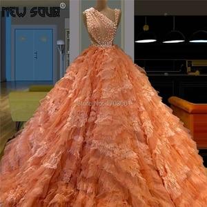 Cloud Tiered Long Evening Dresses 2019 Vestido De Festa Prom Dress Beading Lace Ball Gowns Dubai Party Gowns For Saudi Arabic