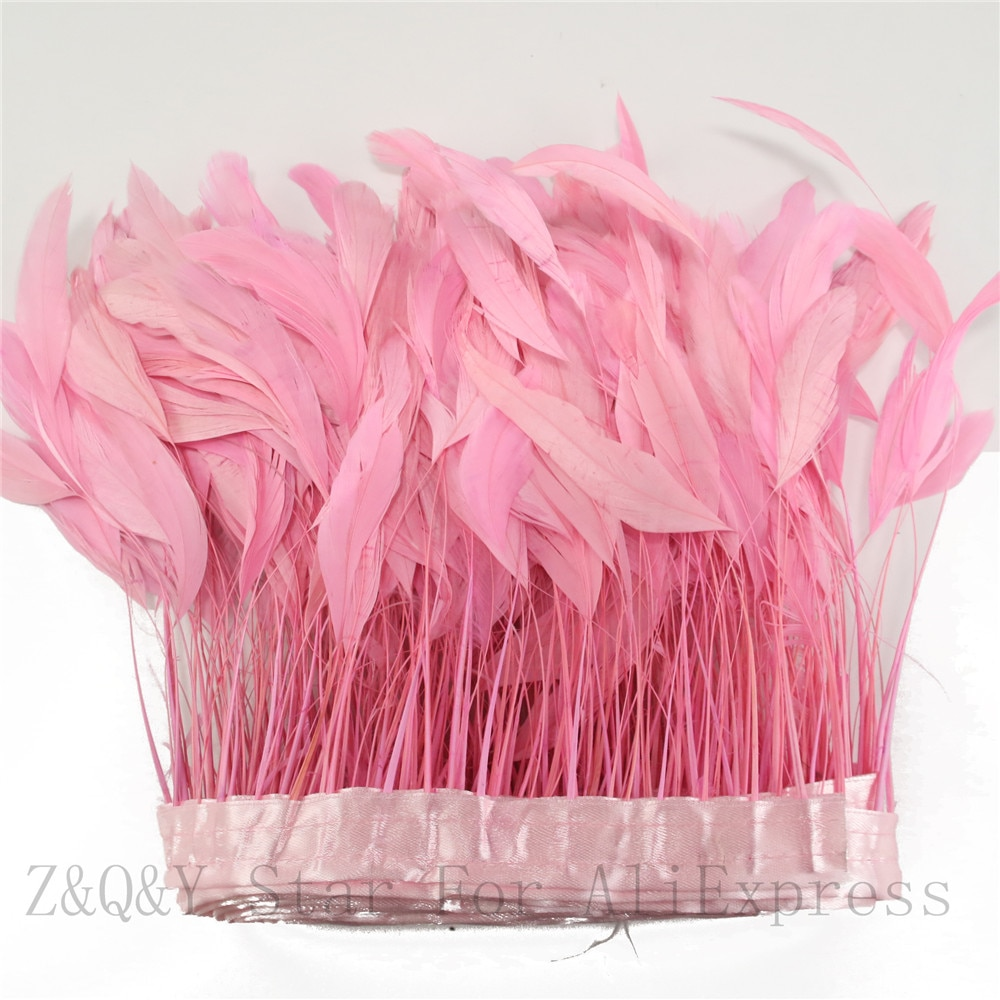 2-10 yardas de natural 15-20CM (6-5 pulgadas) pelo de cola de lágrima teñido de rosa para hacer Bordes de tela decoración artesanal pluma de joyería