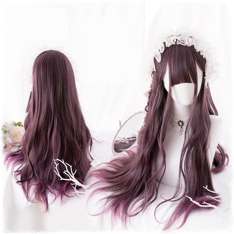 Pelucas originales de Lolita Cosplay pelo sintético de fibra de alta temperatura estilo japonés Pelo Rizado largo de onda grande púrpura + gorra de pelo gratis