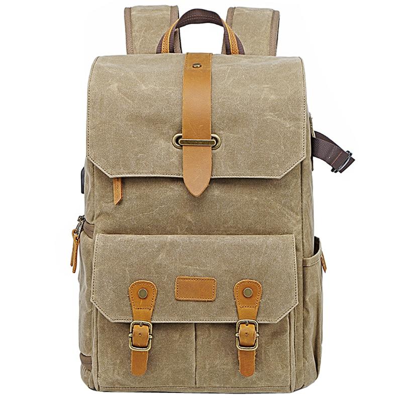Photography Retro Waterproof Batik Canvas backpack w USB Port fit 15.6inch Laptop Men Camera Bag Carry Case for Canon Nikon DSLR