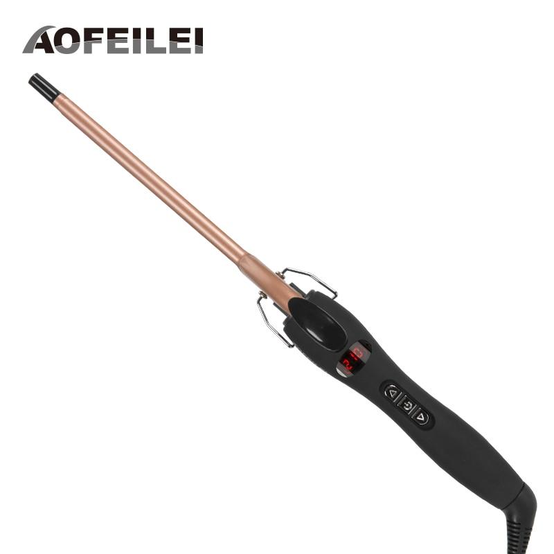 Aofeilei professional 9mm 13mm electric curling iron Hair Small hair curler Ceramic curling wand hair roller Salon Hair Curlers недорого