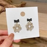 mengjiqiao 2021 elegant cute black bowknot drop earrings for women girls fashion acrylic beads brincos pendientes jewelry