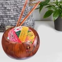 portable round textile yarn storage wooden bowl handmade crochet yarn organizer sewing holder knitted r5d3