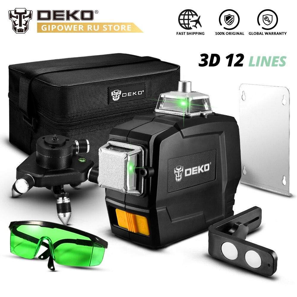 DEKO-مستوى ليزر ثلاثي الأبعاد ذاتي الاستواء مكون من 12 سطرًا ، شعاع أخضر فائق القوة مع خطوط متقاطعة أفقية ورأسية بزاوية 360 درجة