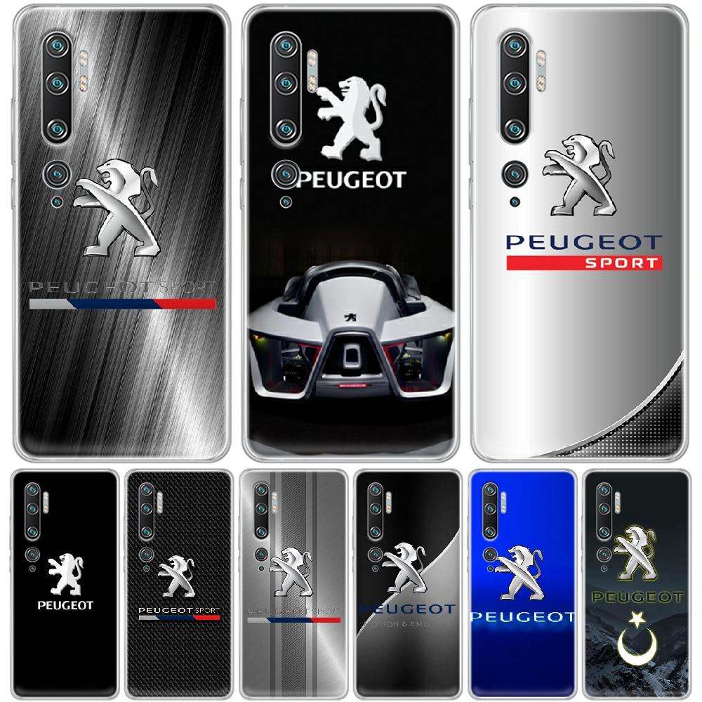 Carcasa de teléfono logotipo Peugeot para XIAOMI MI 3 4 5 5X 8 9 10 se max pro a2 9T note lite transparente hoesjes pintura