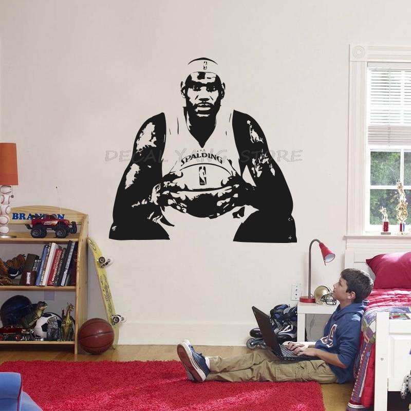 Lebron James Wall Sticker Vinyl DIY Home Decor NBA Basketball Players Wall Decals Sport Star for Kids Living Room 1601 PVC