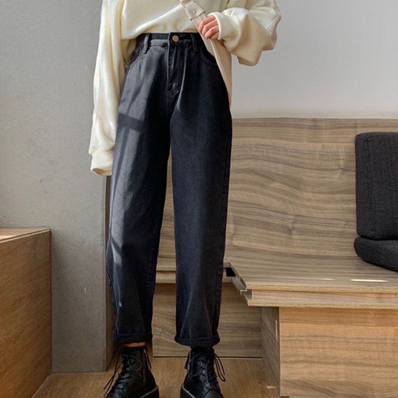 Coreano estilo Retro negro Pantalones rectos Mujer cintura alta-juego primavera Jeans nuevos...
