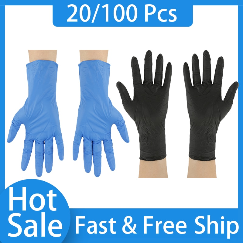 100PCS Nitrile Gloves Disposable Food Grade Work Gloves Nitrile Household Cleaning Laboratory Test Protection Anti-static Gloves недорого