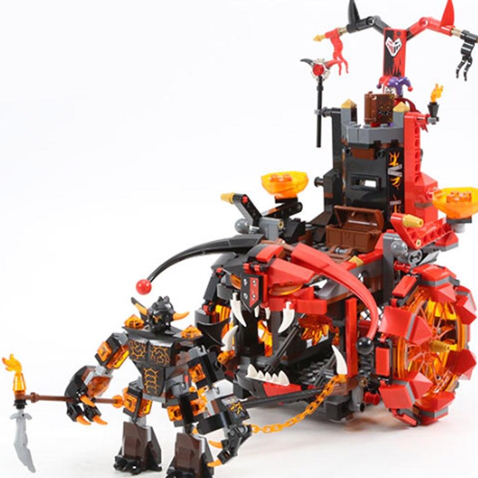 675 шт Новые Рыцари Jestros Evil Mobile Chariot The War Wagon 10489 фигурки строительные блоки игрушки Nexus совместимы с Lepining