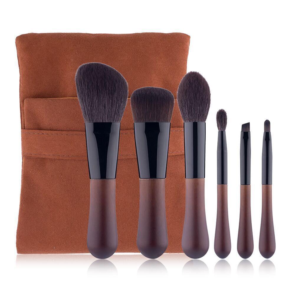 Natural Animal Hair Makeup Brushes Set 6 Pcs Fine Light Peak Real Wool Professional High Quality Beauty Brush Cosmetic Tool