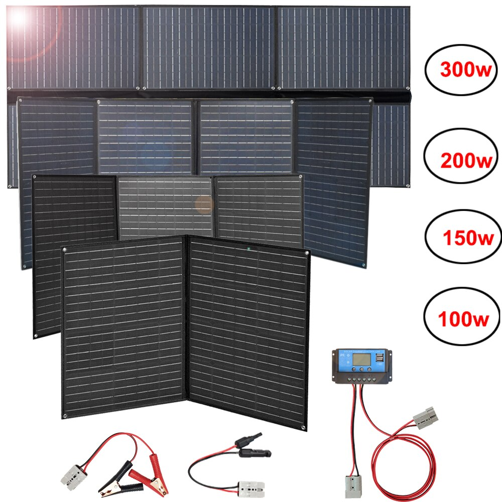 Panel solar plegable flexible 300w 200w 150w 100w 12v cargador portátil plegable impermeable 5v usb para la batería del coche del teléfono camping
