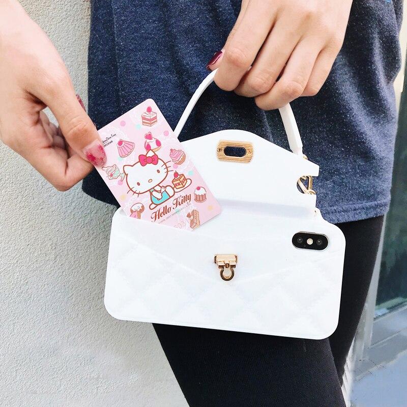 Moda de luxo feminina bolsa carteira cartão caso do telefone para iphone 11 pro max xs max x xr 7 8 6 s mais macio silicone carteira sacos