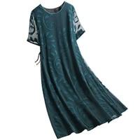 high quality silk woman dresses 2021 new fashion elegant summer mulberry silk plus size female dress loose o neck print dresses