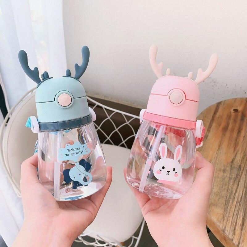 Children's Water Bottles Straw Plastic Water Cup Strap Summer Drinking Bottles Deer Student Baby Kid