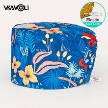Wholesale Pet Beauty Work Hat with Sweat-absorbent Adjustable Buckle Cartoon Print Cap cotton Health