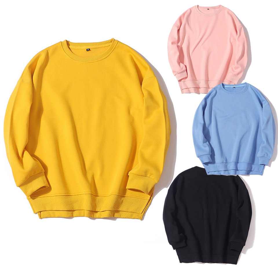High Quality Side Split Hoodie Solid Color Plain Hoodies Unisex Sweatshirt Poleron Mujer 2021 Crewneck Women Casual Hoodies Xl plain white color hollow out zipper side design sweatshirt