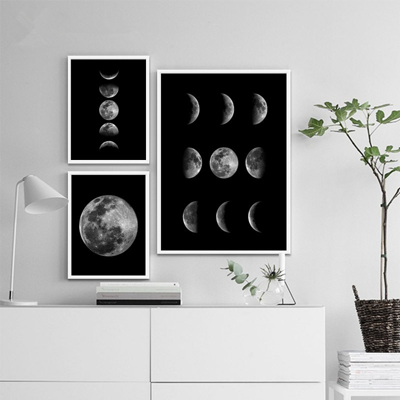 Full Moon Poster Minimalist Black Moon Phases Wall Art Printed Painting Solar System Canvas Picture Decoration for Home Room