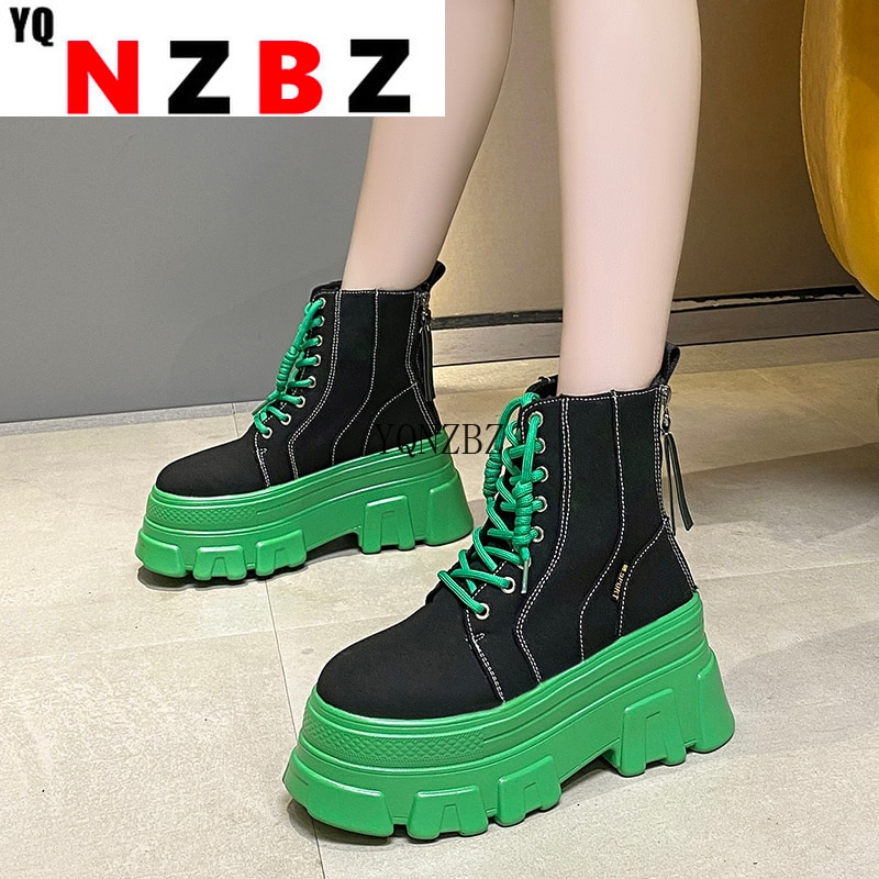 2021 Autumn Women Chunky Ankle Boots Casual Short Boots Women's 8cm High Heels Wedge Boots Shoes Wom