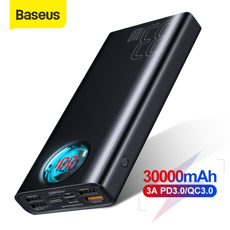 Baseus power bank 30000 mah tipo-c pd 3.0 carregador rápido para o iphone carga rápida 3.0 bateria externa powerbank para xiaomi samsung