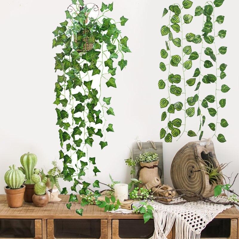 Гирлянда из ротанга 230 см с яркими искусственными растениями, зеленый винограда, лист плюща, лоза, гирлянда для домашнего сада, вечеринки, свадьбы, настенного декора