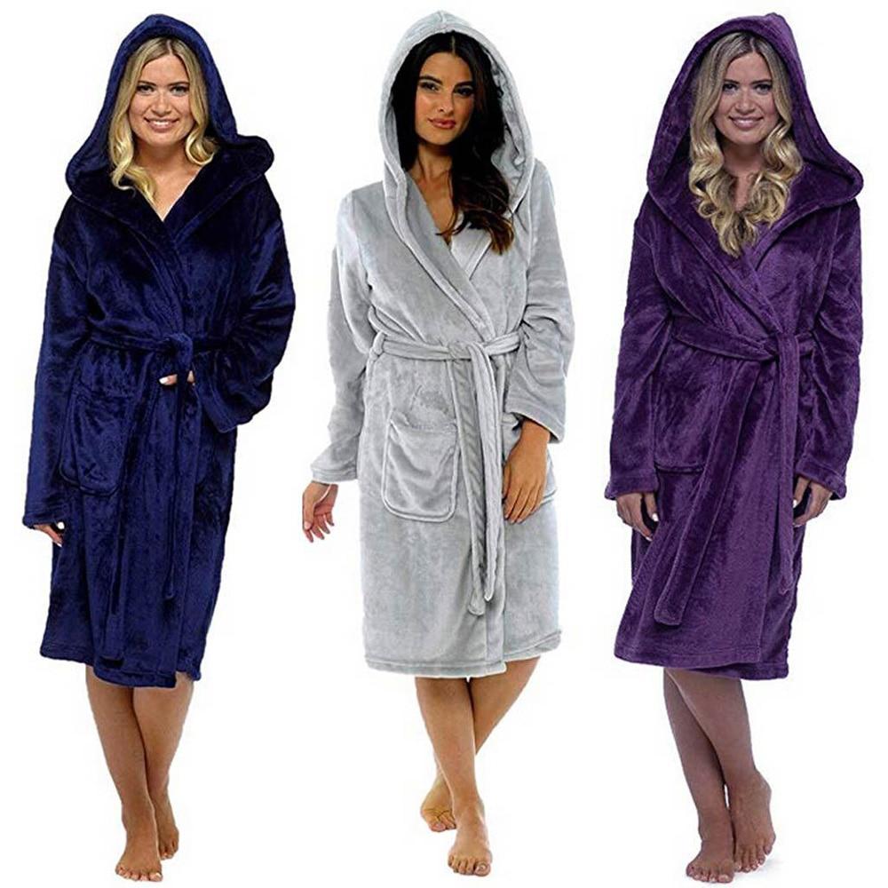 Invierno Coral polar traje para dama Kimono Albornoz camisón grueso cálido manga larga ropa de dormir baño vestido de noche ropa de casa D30