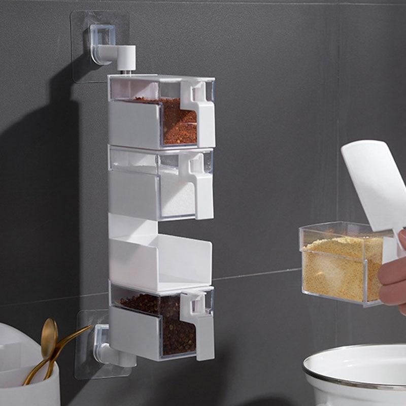 Caixa de tempero houseware tempero caixa de armazenamento monossódico glutamate caixa de cozinha wall-mounted rack de armazenamento conjunto