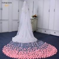 topqueen v95 romantic rose petals wedding veil 4m3m bridal veil with comb 2 tier wedding veil cathedral bride accessories