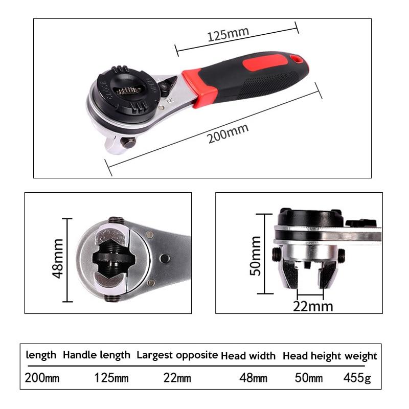 Купить с кэшбэком 1pc 6-22mm Ratchet Adjustable Wrench Universal Key Torque Wrench Spanner Pipe Wrench Multitool Torquimetro Llave Inglesa