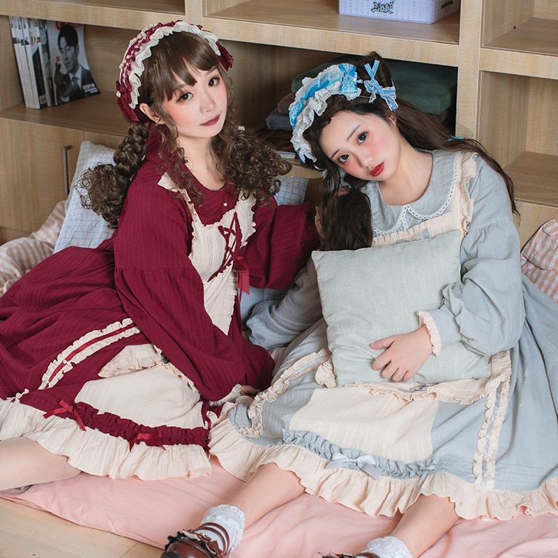 Sweet Cream ~ Classic Long Lantern Sleeve Lolita Dress High Waisted Casual Dress by Idream