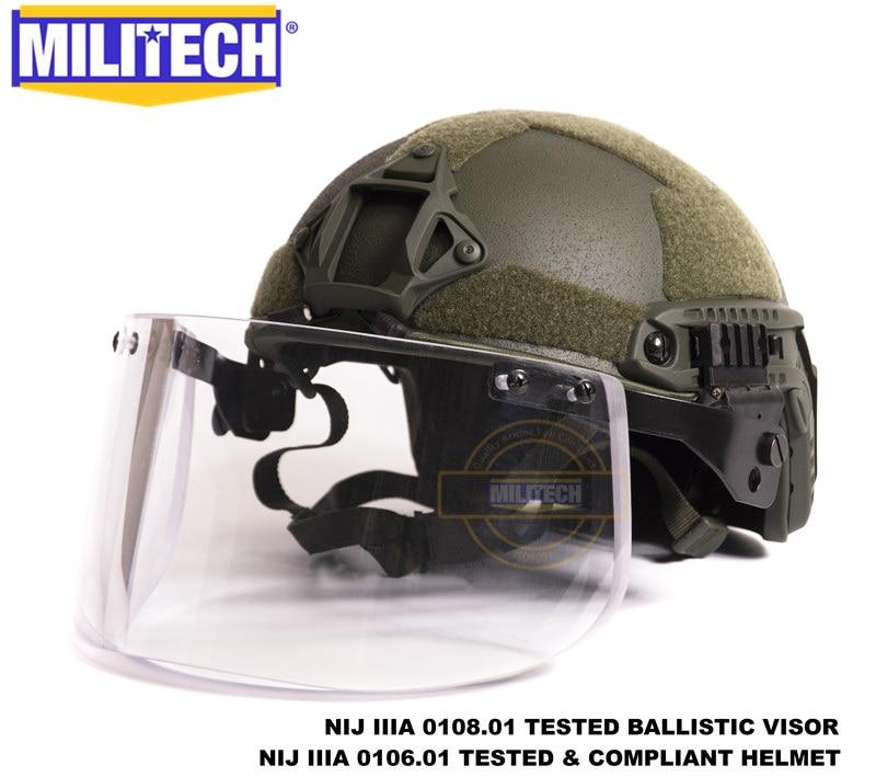 ميليتيك أوليفر دراب OD Deluxe NIJ IIIA مجموعة خوذة وقناع مضاد للرصاص ، خوذة واقية من الرصاص ، حزمة قناع مضاد للرصاص