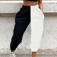high waist sweatpants blackwhite patchwork sporty harem pants autumn winter women loose casual sporty streetwear trousers