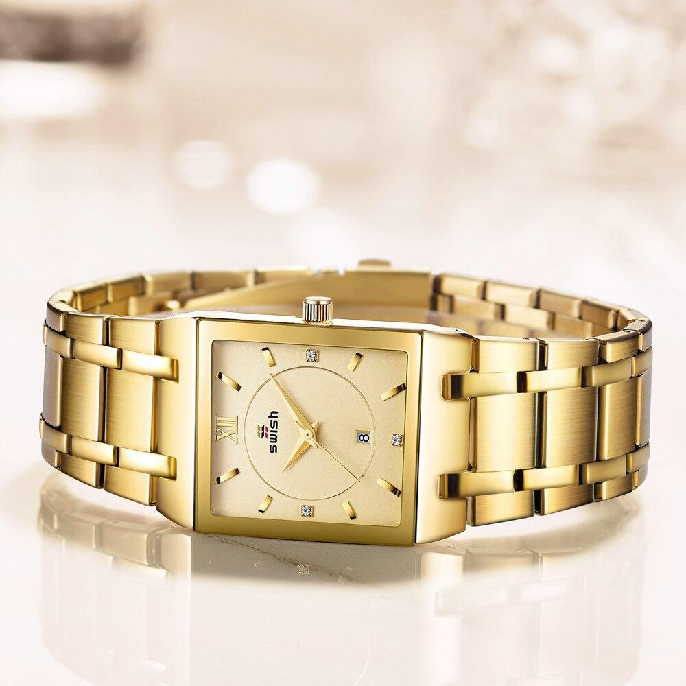 Relógios de Ouro Relógio de Quartzo Feminino à Prova Swish Luxo Feminino Criativo Quadrado Pulseira Relógios Dwaterproof Água Relógio