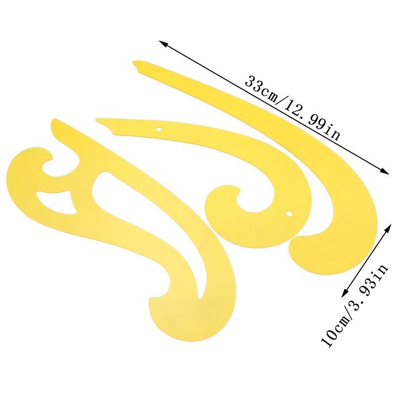 YOKOYAMA 3 uds Set regla curvada francesa de plástico Multi cloud herramienta de dibujo plantilla curva para el diseño de la animación de los cómics de arte