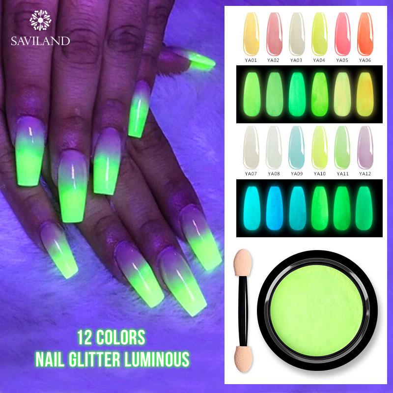 Polvo fluorescente de purpurina para uñas de la oscuridad de SAVILAND, iluminación UV para accesorios de manicura DIY para herramientas DIY