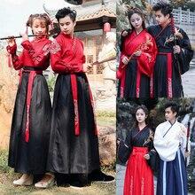 Nouvel an adulte hommes femmes anciens Costumes nationaux chinois Hanfu Festival scène Performance robe de danse folklorique tenue de broderie