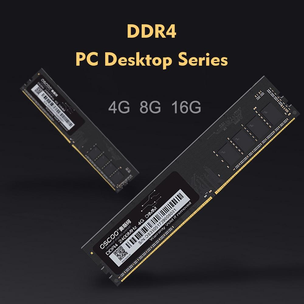 OSCOO DDR4 Memory Bar 4GB/8GB/16GB 2400Mhz سطح المكتب DDR4 اللوحة 288Pin 1.2V طويل DIMM ذاكرة عشوائيّة للحاسوب المكتبي