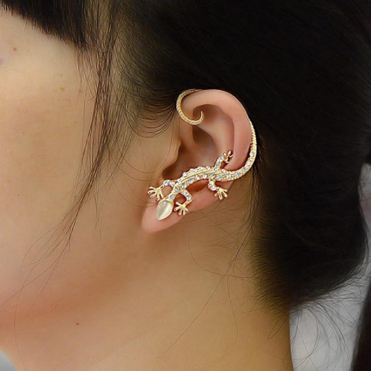 aliexpress.com - Jiao Yu Gothic Punk Crystal Lizard Ear Cuffs for Women Gold Color Silver Color Rhinestone Animal Geckos Clip Earrings 1PC