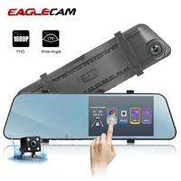 full hd 1080p car dvr 5 5 inch dash cam ultra thin touch screen auto rearview mirror video recorder camera two camera registrar