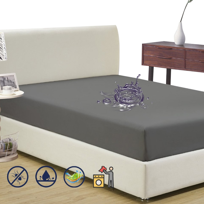 Funda de colchón de felpa de poliéster, resistente al agua, antiácaros, Protector de cama para colchón de cama, transpirable