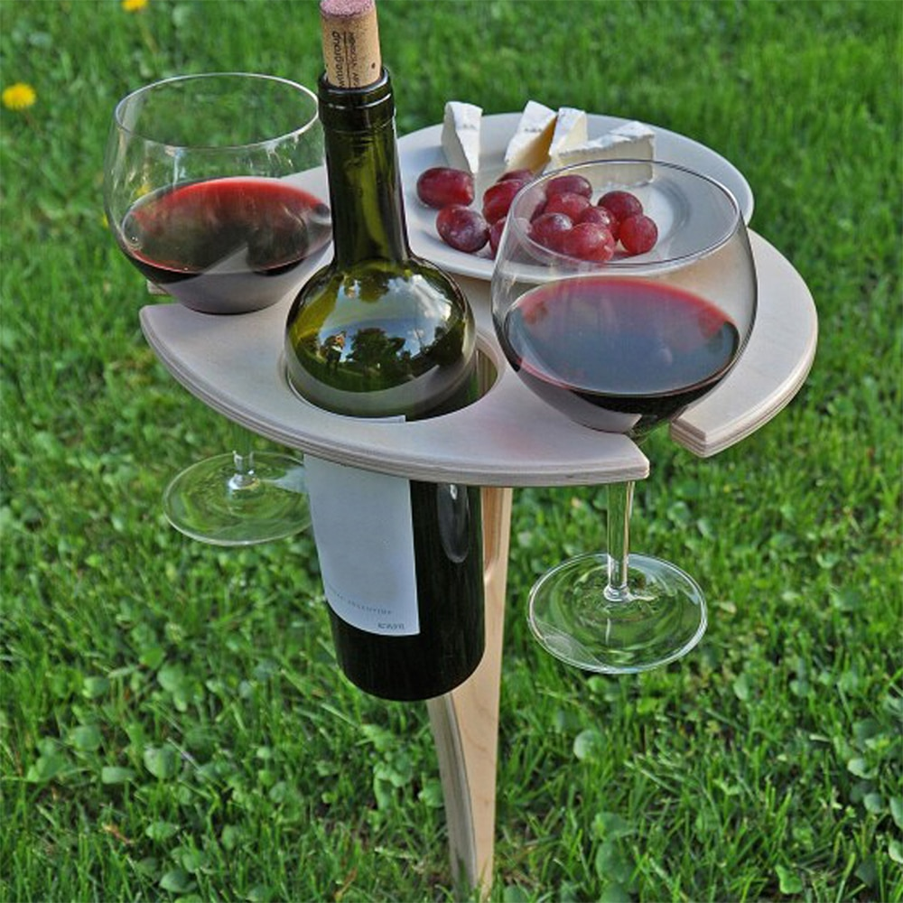 Foldable Outdoor Wine Table With Round Desktop Mini Portable Folding Wine Table For Outdoor Garden Travel Beach Garden Furniture
