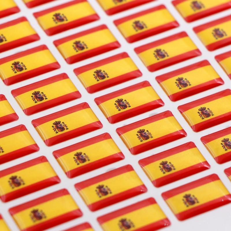 50 pçs carro espanha estilo bandeira etiqueta do emblema para skoda audi bmw assento peugeot opel toyota honda mazda alfa lada acessórios