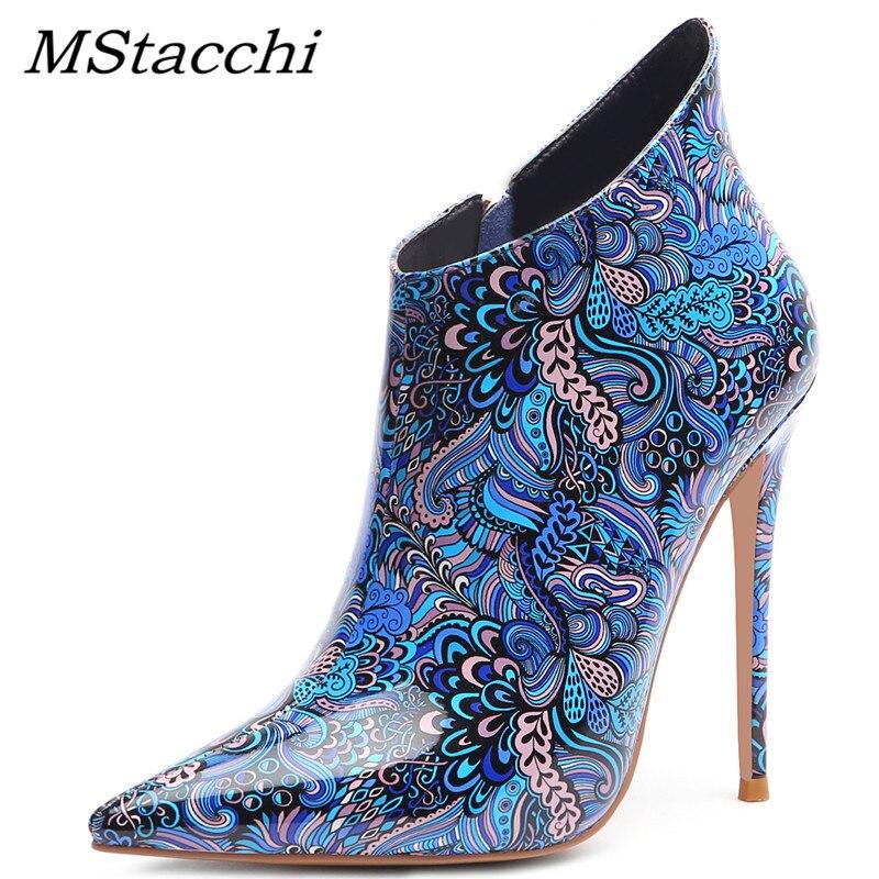 MStacchi Mulheres Coloridos Couro de Patente Sapatos de Salto Alto Mulher Zíper 12 CENTÍMETROS Botas De Salto Alto Sexy Partido Senhoras Chelsea Tornozelo botas