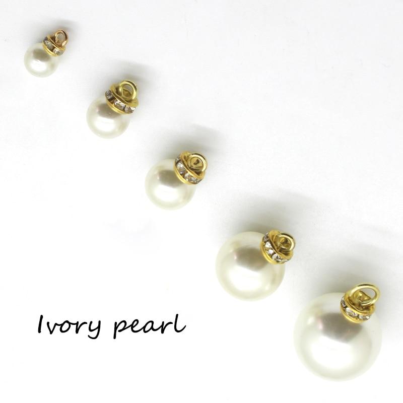 LKERAN 100% scratch-freies Kristall elfenbein faux Perle Strass Tasten Diy Kleidung Handwerk Scrapbooking taste Nähen Zubehör