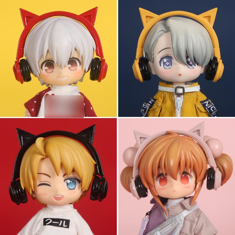 Ob11 bonito gato orelha fones de ouvido para gsc, obitsu11, molly, 1/8 1/12bjd bjd bebê roupas chapéu boneca acessórios boneca headwear
