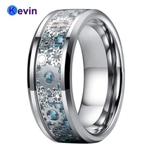 Bague de mariage hommes femmes tungstène 8 MM avec roue dentée mécanique bleu clair incrustation de Fiber de carbone bords biseautés ajustement confort