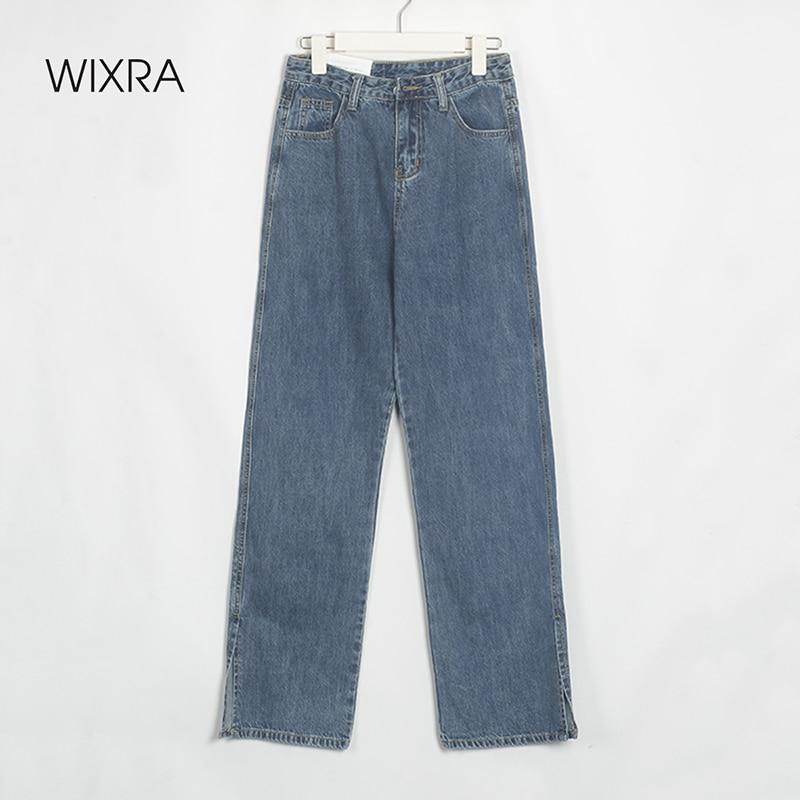 Wixra إمرأة الشارع نمط انقسام الدنيم طويلة السراويل السيدات الربيع الصيف عالية الخصر جيوب عارضة القطن الجينز