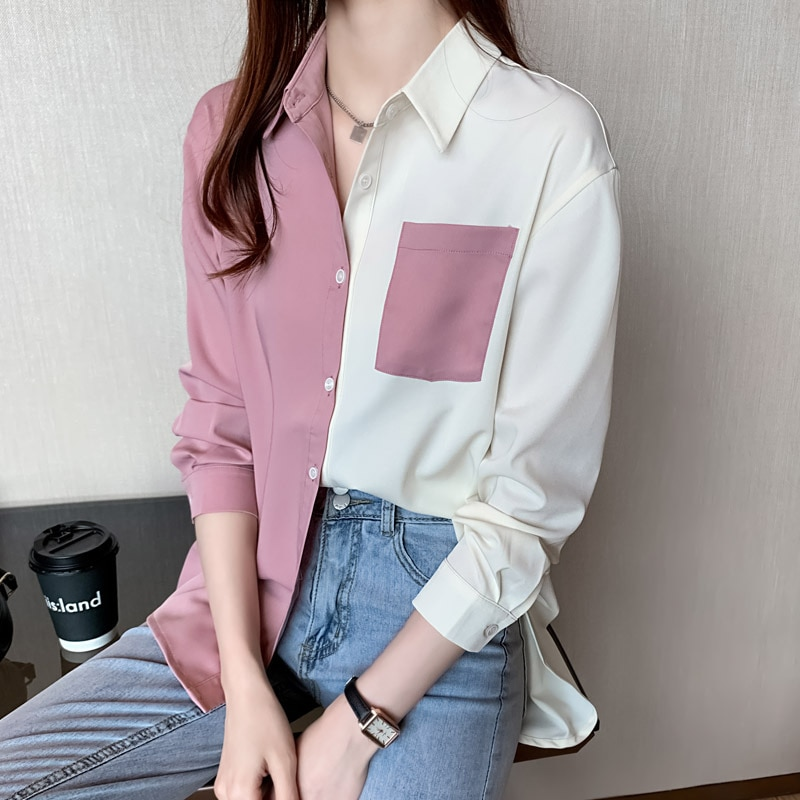 Yg Brand Women's Wear, 2021 Spring And Autumn New Long Sleeve Blouse, Casual Top, Color Contrast Des